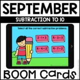 Boom Cards™ | Subtraction to 10 | September Themed First Grade