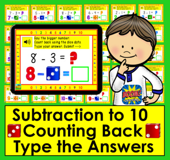 Boom Cards Math Subtraction to 10: Strategy:  Counting Back Using Dice Dots
