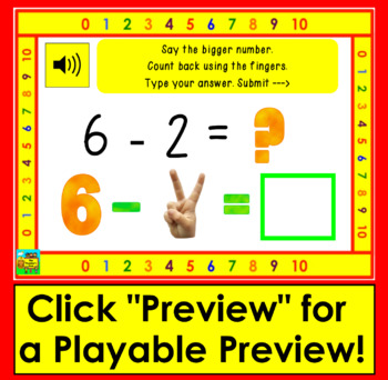 Boom Cards  Math Subtraction to 10 Strategy:Counting Back with Images of Fingers