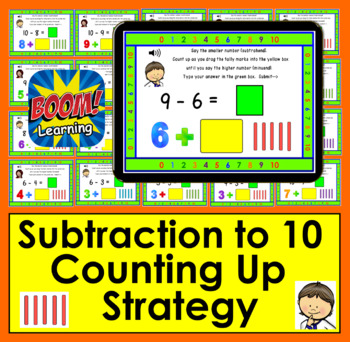 Boom Cards Math Subtraction to 10: Strategy:  Counting Up Using Tally Marks