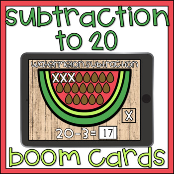 Boom Cards Subtraction to 20 Summer Theme Digital Math