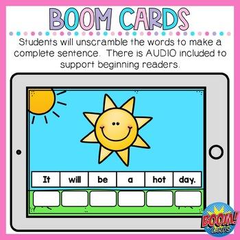 Boom Cards Summer Sentence Scrambles
