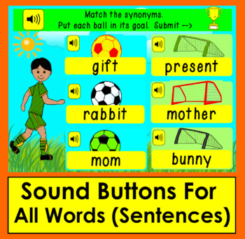 Boom Cards™ Synonyms Soccer - Kick Soccer Balls to Goals to Match 60 Pairs