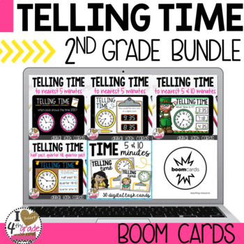 Boom Cards Telling Time Bundle (2nd grade)