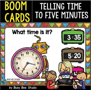 Boom Cards   Telling Time to Five Minutes Cards