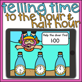 Boom Cards Math Telling Time to the Hour and Half Hour 1st Grade Digital Math