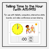 Boom Cards: Telling Time to the Hour (with AM/PM)