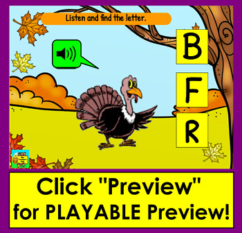 Boom Cards Thanksgiving Alphabet Capital Letter Recognition With Sound! Animated