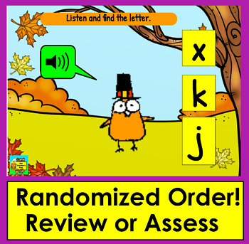 Boom Cards™ Thanksgiving Alphabet Lowercase Letter Recognition - With Sound!