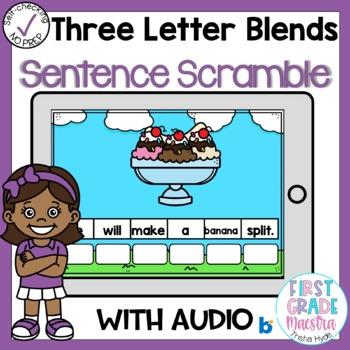 Boom Cards Three Letter Blends Sentence Scrambles