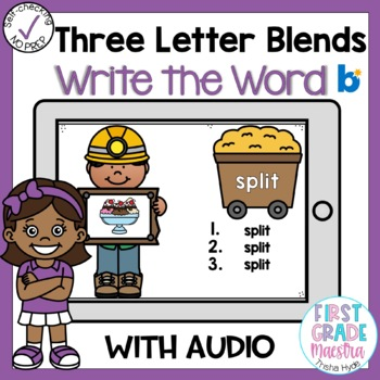 Boom Cards Three Letter Blends Write the Word