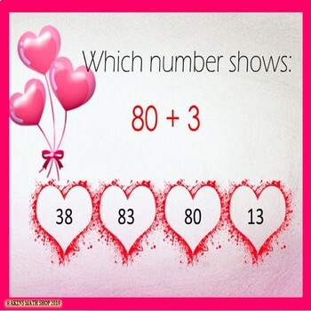 Boom Cards Two-Digit Numbers Valentine's Day