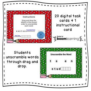 Boom Cards Unscramble the Words: Back to School Edition