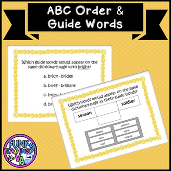 Boom Cards- VA SOL Guide Words and ABC Order TEI Practice