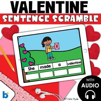 Boom Cards Valentine Sentence Scrambles