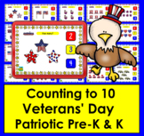 Boom Cards™ Veterans' Day Math Counting to 10 - Click/Touch the Answer