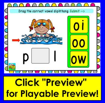 Boom Cards™ Vowel Teams: Deck 1: Diphthongs: oo ow oi oy Digital Self-Chkg