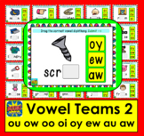 Boom Cards™ Vowel Teams: Deck 2: Diphthongs: oo ow ou oi oy ew au aw Self-Chkg