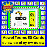 Boom Cards™ Vowel Teams: Diphthongs: oo ow ou oi oy ew au aw Self-Checking