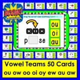 Boom Cards™ Vowel Teams: Diphthongs: oo ow ou oi oy ew au aw Self-Checking