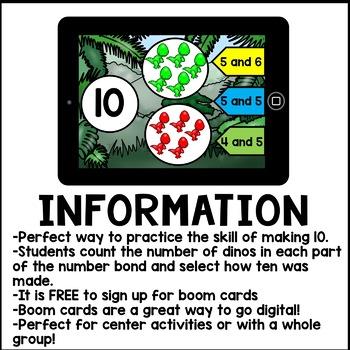 Boom Cards - Ways to Make Ten Number Bonds (Kindergarten Digital Math)