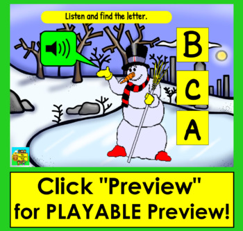 Boom Cards™ Winter Alphabet Capital Letter Recognition - Animated Snow People