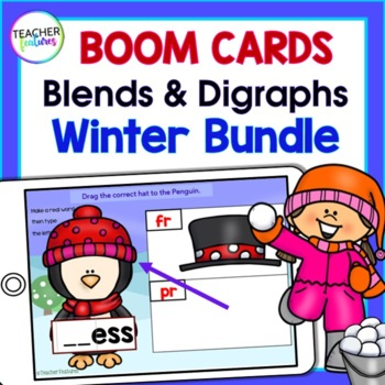 Boom Cards Winter | First Grade Phonics | Consonant Blends | Digraphs | BUNDLE