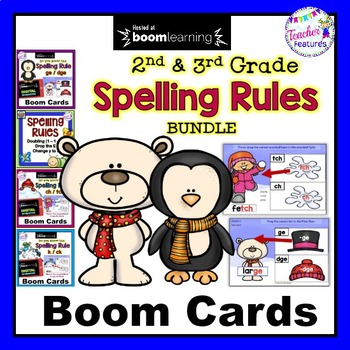 Boom Cards Spelling Rules for 2nd & 3rd Grade BUNDLE