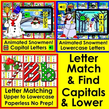 Boom Cards Winter and Christmas BUNDLE for K/1 Math and Literacy