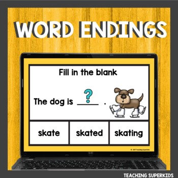 Words ending in ed or ing Boom Cards