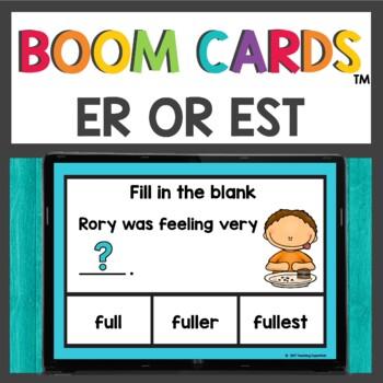 Words ending in er and est Boom Cards