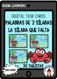 Boom Cards in Spanish-Palabras de tres sílabas- La sílaba que falta