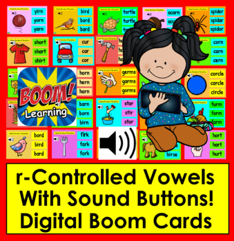 Boom Cards™ r-Controlled Vowels - 25 Interactive Self-Chkg Digital Cards-w/Sound