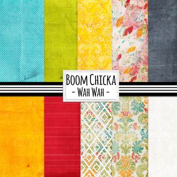 Boom Chicka Wah Wah - Celebration Digital Papers, Colorful Damask