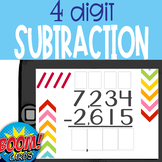 Boom Cards: 4 digit Subtraction WITH Regrouping