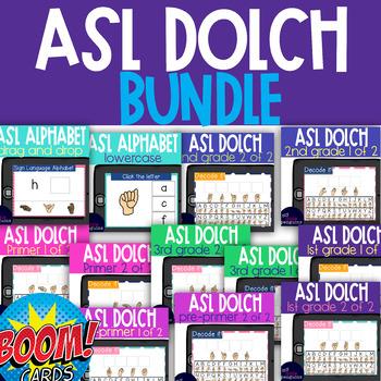 15 Boom Deck ASL (Sign Language) BUNDLE Alphabet and Dolch word lists