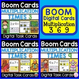 Math BOOM CARDS Digital Learning Multiplication Times 3, 6 and 9
