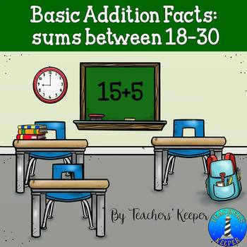 Basic Addition Facts with Sums of 18-30: Boom Digital Task Cards