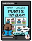 Boom Distance Learning Digital Task Cards in Spanish- Palabras de tres sílabas