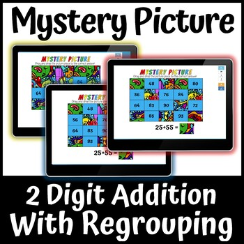 Boom Learning Cards 2 Digit Addition with Regrouping Mystery Picture 1