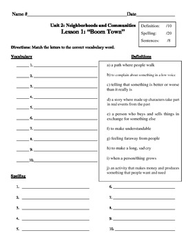 """Boom Town"" Vocabulary List and Test for Treasures"