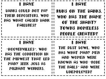 Great Depression Review Game