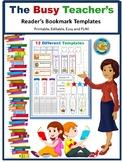Bookmark Templates Editable WORD Printables Reading