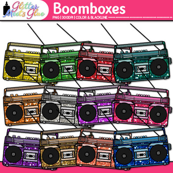 Boombox Radios Clip Art {80's Retro Music Graphics for Worksheets & Resources}