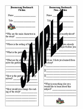 Boomerang Bookmark - Book Report in a Bookmark