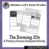 Booming 20s Economy Primary Sources Analysis Activity Handout 1920s U.S.