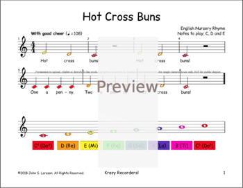 Boomwhackers Hot Cross Buns -  Song Sheet Music