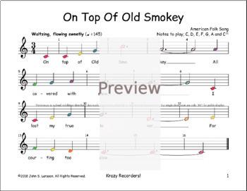 On Top Of Old Smokey - Boomwhackers® Bells Glockenspiel Sheet Music