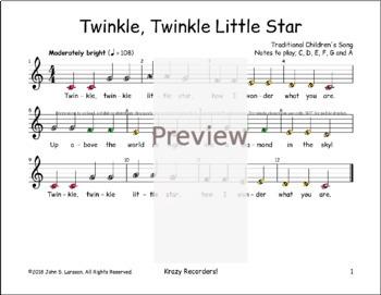 Twinkle Twinkle Little Star - Boomwhackers® Bells Glockenspiel Sheet Music