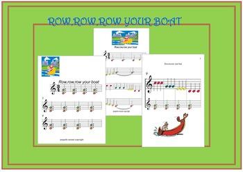 Boomwhacker Sheet: Row,row,row your boat.Mp3 sound ACOMPANIAMENT.